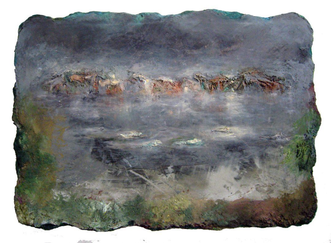anne-manoli-peinture-2013-cire-emulsion-huile-sur-toile-100cmx140cm-ophelies-la-passagere-