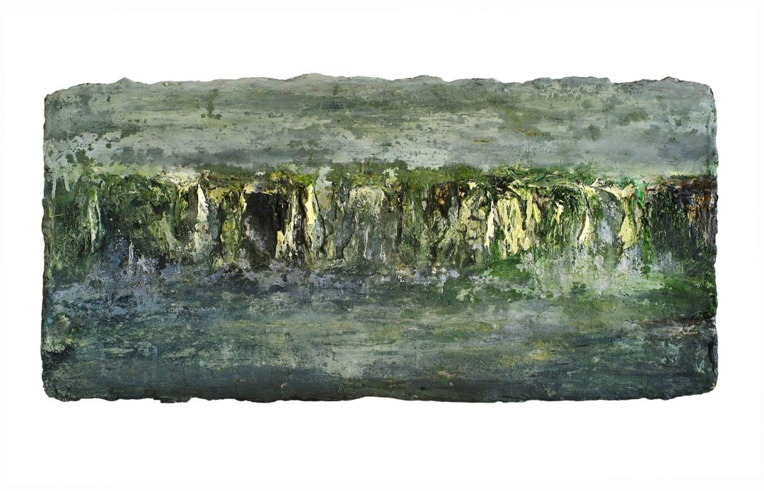 anne-manoli-peinture-2009-emulsion-huile-sur-toile-50cmx102cm-vert-presque-tendre-