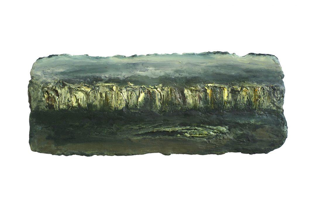 anne-manoli-peinture-2010-emulsion-huile-sur-toile-38cmx96cm-vert-presque-tendre-collection-particuliere