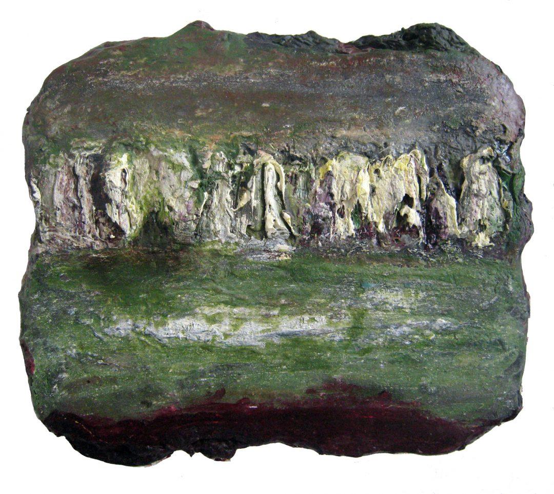 anne-manoli-peinture-2011-cire-emulsion-huile-sur-toile-25cmx29cm-vert-presque-tendre-collection-particuliere