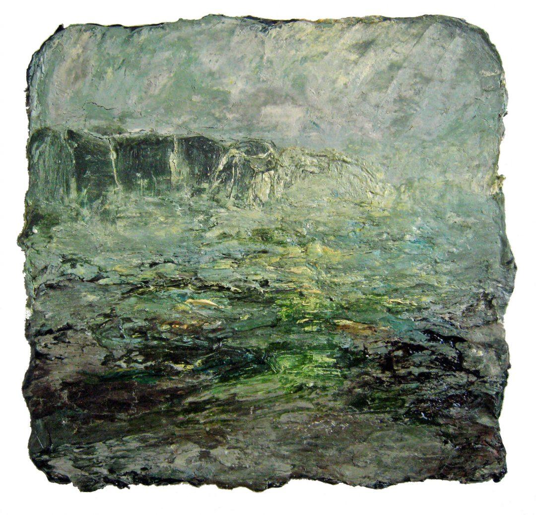 anne-manoli-peinture-2009-cire-emulsion-huile-sur-toile-38cmx40cm-vert-presque-tendre-collection-particuliere